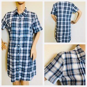 ❗️1hr sale Lucky brand plaid blue shirt dress
